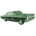 1965 to 1968 Plymouth Fury headliner without rear panels
